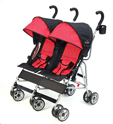 Kolcraft Cloud Side-by-Side Double Umbrella Stroller with 3-Point Safety System and Reclining Seats, Scarlet