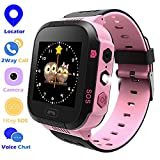 Jsbaby Kids Smart GPS Watch 1.44 inch Touch Smartwatch LBS Kid Tracker for Children Girls Boys Birthday Gift with Camera SIM Calls Anti-Lost SOS Compatible Phone Android (T09-pink)