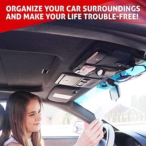 EcoNour Car Sun Visor Organizer | Multi-Pocket Car Organizer | Sunglasses Holder for Car | Visor Auto Interior Car Accessories | Cards, Pen Holder | Travel Accessories | Visor Document Holder 13