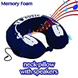 Comfyt Neck Pillow with Built in Stereo Speakers Memory Foam Travel Pillow for Airline Travel, Pillow Speaker 19-7 Blue