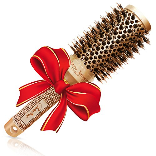 Blow out Round HairBrush with Natural Boar Bristles for Blow Drying | Straightening| Curling - Best Styling Brush for Medium Length Hair or Want Wavy | Curled Hair (1.7')
