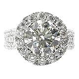 Xinantime Luxurious Elegant Shinning Diamond Zircon White Openwork Ring Ladies Jewelry for Wedding Engagement (6, Silver)