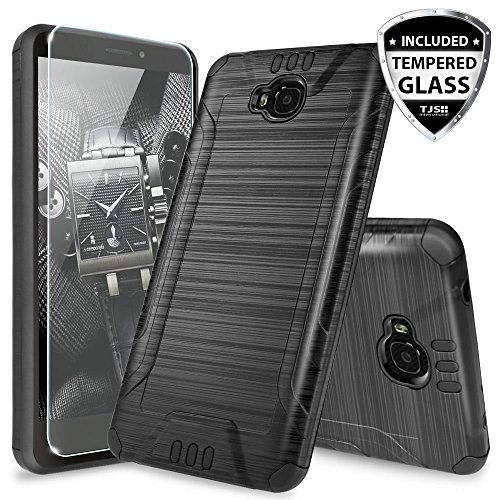 Huawei Ascend XT H1611 Case, with TJS [Tempered Glass Screen Protector] Dual Layer Shockproof Tough Brushed Hybrid Armor Drop Protection Case Cover (Not for Huawei Ascend XT2 H1711) (Black)