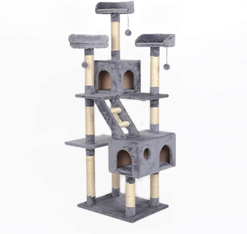 Dhtomc Cat Scratcher Activity Centres Cat Climbing Tree Cat Solid Wood Sisal Cat Tree Large Cat Jumping Cat Scratching Column Cat Climbing Tree Pet Palace Color B Size 173 X