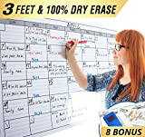 Dry Erase Monthly Laminated Jumbo Whiteboard Calendar, 25' by 38',Erasable Family Schedule Planner
