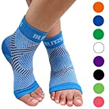 BLITZU Plantar Fasciitis Socks with Arch Support, Foot Care Compression Sleeve, Eases Swelling & Heel Spurs, Ankle Brace Support, Relieve Pain Fast Blue L-XL