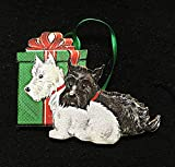 Scottish Terriers Christmas Ornament Handcrafted Wood, Red Gift Bow Mid-Century Modern 1950s Card, Black White Scotties, Dog Lover's Gift