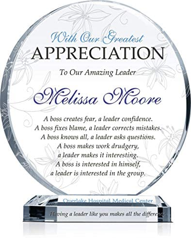 Amazon Com Personalized Boss Appreciation Gift Plaque For Woman Customized With Boss Name And Leadership Quote Unique Boss Award For Her On Retirement Farewell Birthday Christmas Boss Day L 8 Home