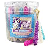 Unicorn Party Rock Crystal Candy Sticks | Unicorn Horns | 36 Count Assorted - Blueberry, Grape, Pink Cotton Candy, Original | Boone's Mill