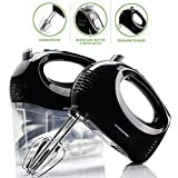 Ovente Electric Hand Mixer, 5 Mixing Speeds, 150W, 2 Stainless Steel Chrome Beaters & Snap-On Storage Case, Black (HM151B)