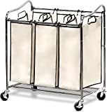 Simple Houseware Heavy-Duty 3-Bag Laundry Sorter Cart, Chrome