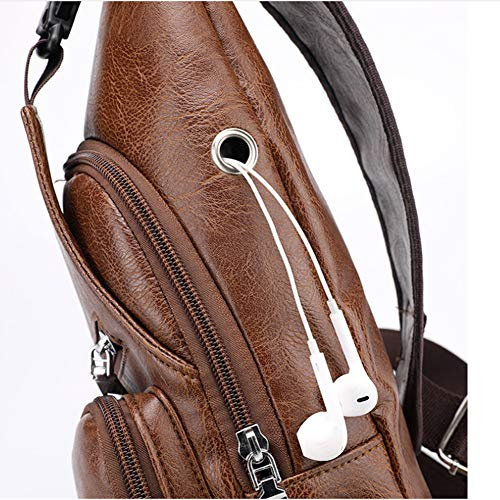 Men Shoulder Crossbody Sling Bag, PU Leather Chest Backpacks Crossbody Daypacks with USB Charging Port for Outdoor Activities (Light Brown) 6 Fashion Online Shop gifts for her gifts for him womens full figure