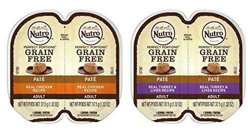 Nutro Perfect Portions Grain Free Soft Loaf Cat Food 2 Flavor 8 Can Variety Bundle, (4) Each: Turkey & Liver, and Chicken - 2.6 Ounces (8 Cans Total)