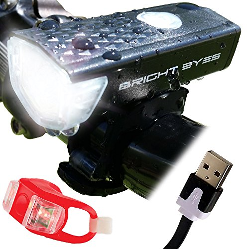 Bright Eyes 300 Lumen USB Rechargeable Micro Bike Light and Taillight - Reliable Bicycle Headlight