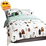 BuLuTu Siberia Forest Theme Boys Duvet Cover Twin Cotton Darker White,Cartoon Duvet Cover Set Kids,3 Pieces Bedding Collection Set(1 Duvet Cover + 2 Pillowcases) for US Single Bed,No Comforter