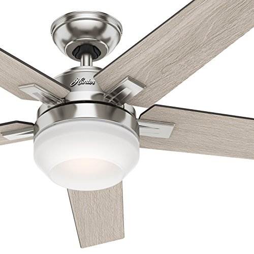 Hunter 54' Contemporary Indoor Ceiling Fan with Light Kit and Remote Control (Renewed), Brushed Nickel Finish
