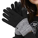 LETHMIK Duotone TouchScreen Winter Gloves,Mens&Womens Unique Knit Warm Gloves with Warm Wool Lining Black