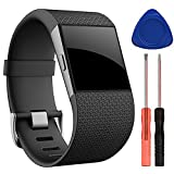 QGHXO Band for Fitbit Surge, Soft Silicone Adjustable Replacement Strap with Metal Buckle Clasp for Fitbit Surge Fitness Superwatch (No Tracker) (Black, Large(6.3'-7.8'))