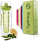 Hydracy Fruit Infuser Water Bottle - 32 Oz Sports Bottle with Full Length Infusion Rod, Time Mark and Insulating Sleeve Combo Set + 27 Fruit Infused Water Recipes eBook Gift - Lime Green