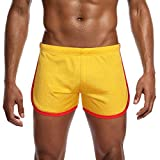 NUWFOR Men's New Nylon Mesh Sports Flat-Angle Track and Field Trousers Shorts Pant?Yellow,US:L/AS:XXL Waist?36.2'