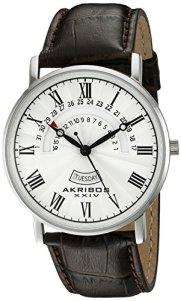 Akribos XXIV Men's AK898SS Round Silver Dial Three Hand Quartz Stainless Steel Strap Watch