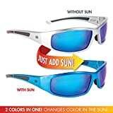 Solize Color-Changing Polarized Sunglass by Del Sol - Lifetime Protection Against Theft, Loss or Damage (With Me Tonight - Silver to Blue, Del Sol Revo Lens)