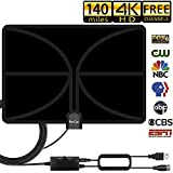 TV Antenna, 2019 New HDTV Indoor Digital Amplified TV Antennas 140 Miles Range with Amplifier TV Signals, Indoor Antenna for 4K1080P HD Free Local TV Channels-Support All TV's-16.5ft Coax Cable