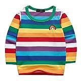 Sooxiwood Boys T-Shirt Striped Rainbow Long Sleeve Size 4T L-Rainbow