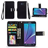 Galaxy Note 5 Case, IZENGATE [Classic Series] Wallet Case Premium PU Leather Flip Cover Folio with Stand for Samsung Galaxy Note 5 (Black)