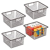mDesign Farmhouse Metal Wire Storage Organizer Bin Basket Holder with Handles - for Home, Office Supplies, Desk, Paper, Colored Pencils, Markers, Tape, Folders, Notepads - Medium, 4 Pack - Bronze