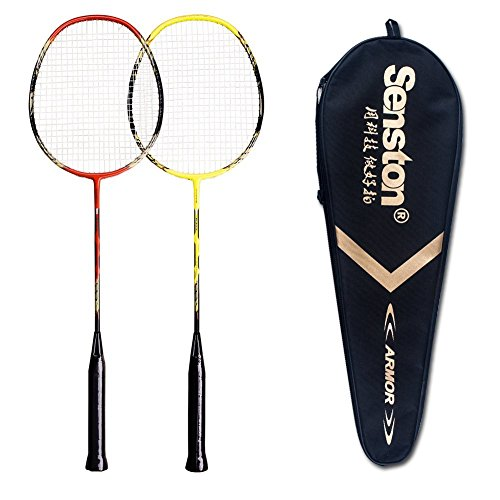 Senston - 2 Player Badminton Racket Set Double Rackets Carbon Fiber Shaft Racquets Badminton Set - Including 1 Badminton Bag