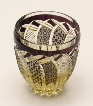 Edo Kiriko Guinomi (Sake Glass): Brown