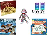 Children's Gift Bundle - Ages 6-12 [5 Piece] - Classic Wood Folding Chess Set Game - Merkury HUE Universal Dancing-LED Speakers - Street Players Flower Sock Monkey Plush Toy 15' - Wonders of The Wor