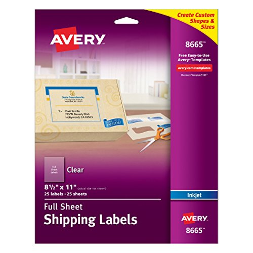 Avery Clear Full-Sheet Labels, Inkjet Printers, 8.5 x 11 Inches, Pack of 25 (8665)