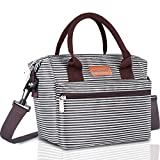 BALORAY Lunch Bag for Women Insulated Lunch Box with Adjustable Shoulder Strap,Water-Resistant Leakproof Cooler Lunch Tote Bag for Work Picnic(Black&White Strip) (G-206 Black&White Strip)