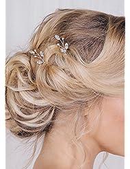 FXmimior 3 PCS Bridal Women Vintage Wedding Party Hair Pins Crystal Hair Accessories (silver)