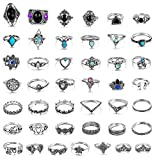 Adramata 43 Pcs Vintage Knuckle Rings Women Girls Stackable Midi Finger Ring Set Bohemian Jewelry