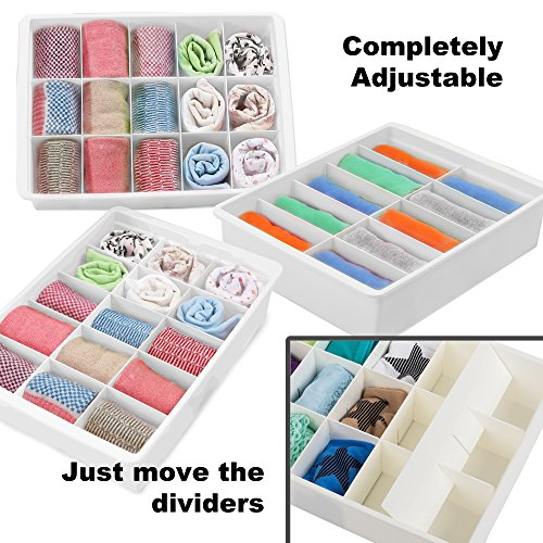 Adjustable Drawer Organizers (3 Set) With Customizable Dividers