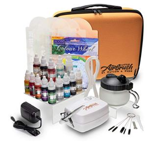 Airbrush Cake Decorating Kit | Watson & Webb Little Airbrush Including 13 Colours | Stencil | 1 x Airbrush Cleaning Solution and Pot | Cleaning Brushes | Colour Wheel & Case 51hMXFUTSpL
