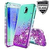 Case for Samsung Galaxy J3 2018,J3V J3 V 3rd Gen,J3 Orbit Case,Express Prime 3,J3 Star,J3 Achieve,Amp Prime 3 Case W/Glass Screen Protector,Glitter Liquid Quicksand Diamond F/Girls Women,Mint/Purple
