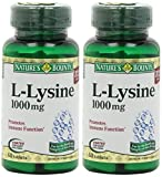 Nature's Bounty L-Lysine, 1000mg, 120 Tablets (2 x 60 Count Bottles)