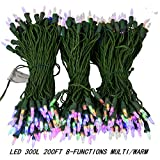 300 LED String Light Two-Color Change with 8 Functions Controller,200 FT Perfect for Decorating Christmas Trees Wedding, Christmas, Patio, Garden, Party,Home Decoration,Outdoor and Indoor