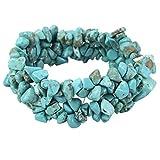 YACQ Turquoise Stretch Cuff Bracelet 5 Layer Braided Chunky Chakra Bracelet Handmade Jewelry for Women Teen Girls 7.5'