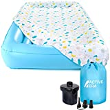Active Era Air Mattress for Kids with Washable Fitted Sheet, Safety Bumpers and AC Pump (Inflates in 60 Seconds)