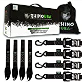 RHINO USA Ratchet Straps Heavy Duty Tie Down Set, 5,208 Break Strength - (4) Heavy Duty 1.6' x 8' Cargo Tiedowns with Padded Handles & Coated Chromoly S Hooks + (4) Soft Loop Tie Downs Strap (BLACK)