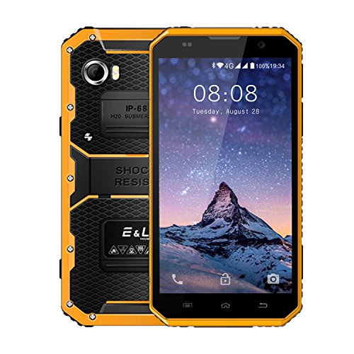 E&L Proofings W9 IP68 Waterproof 4G LTE Rugged Smartphone Dustproof Shockproof 6.0 inch Android Outdoor Phones Unlocked AT&T And T-Mobile Version (Yellow)