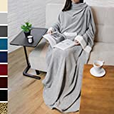 PAVILIA Deluxe Fleece Blanket with Sleeves for Adult, Men, and Women| Elegant, Cozy, Warm, Extra Soft, Plush, Functional, Lightweight Wearable Throw (Light Gray)