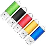 SumDuta 5 Pack 16GB USB 2.0 Flash Drive Thumb Drives Memory Stick, 5 Colors: Black Blue Green Gold Red