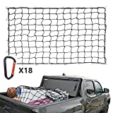 """Cargo Nets for Pickup Trucks, 5'X7' Bungee Cargo Net Stretches to 10'x14', Universal Heavy Duty Truck Bed Net,18 Tangle-Free D Clip Carabiners, 6""""x 6"""" Mesh Holds Small Large Loads Tighter"""