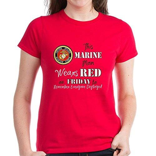 c023ca586 CafePress - Marine Mom Red Friday T-Shirt - Womens Cotton T-Shirt,